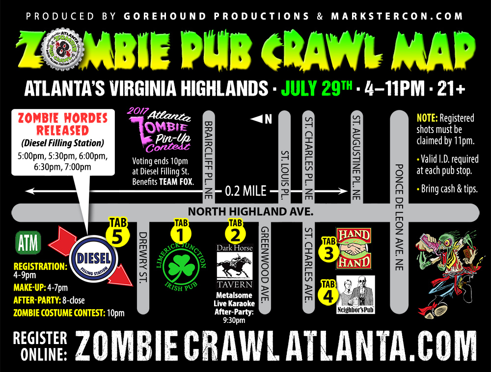 Zombie Pub Crawl Map
