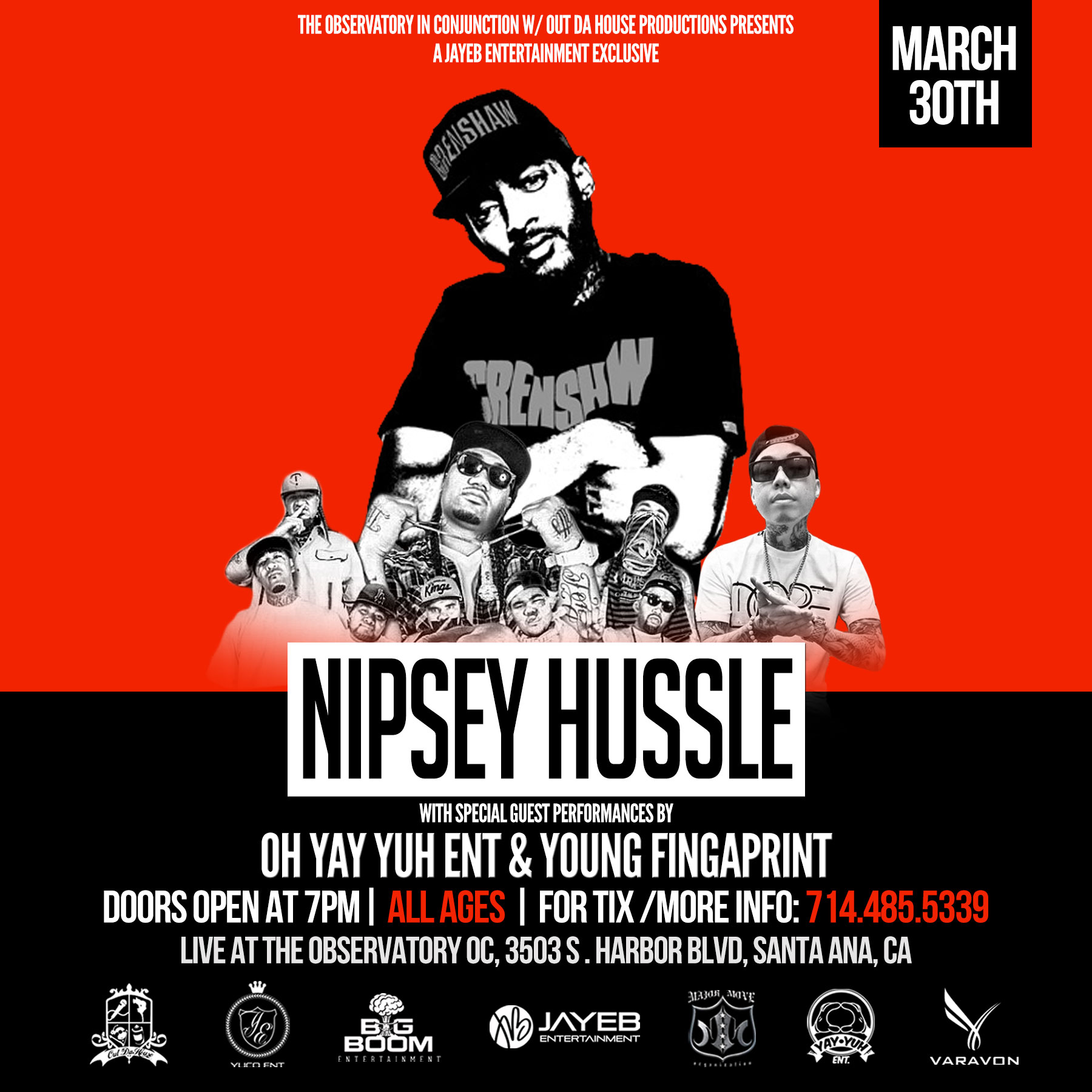 Nipsey Hussle March 30th Flyer