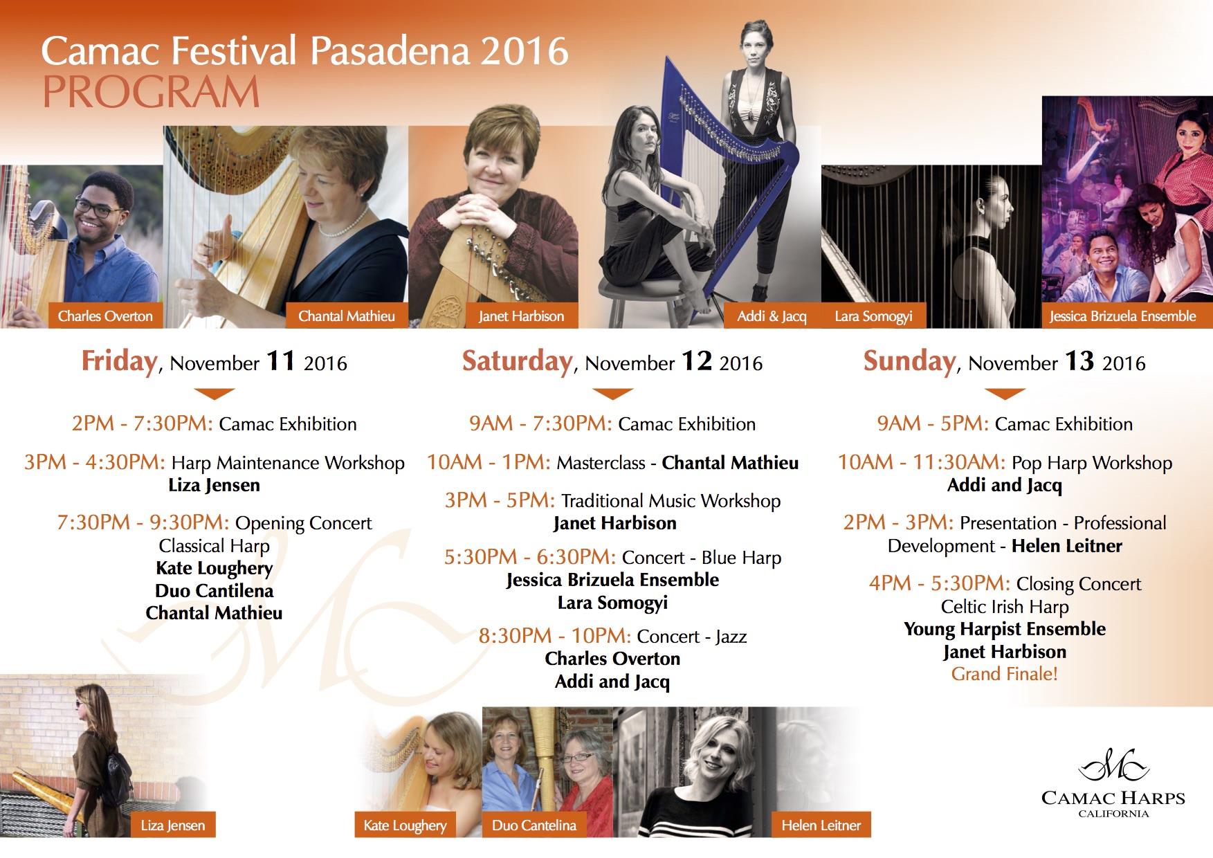 Camac Festival 2016 Schedule