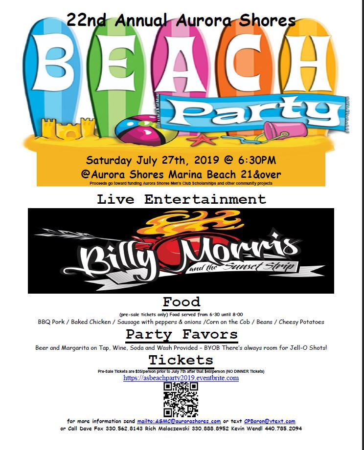 22nd Annual Aurora Shores Beach Party letter
