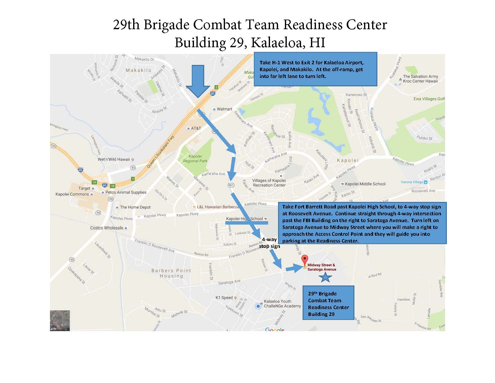 Directions to Readiness Center