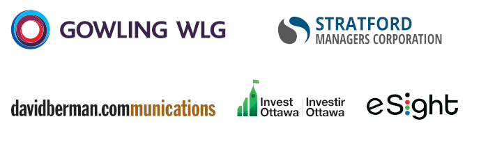 Logos of the event sponsors, including Gowling WLG, Stratford Managers, David Berman Communications, Invest Ottawa and eSight