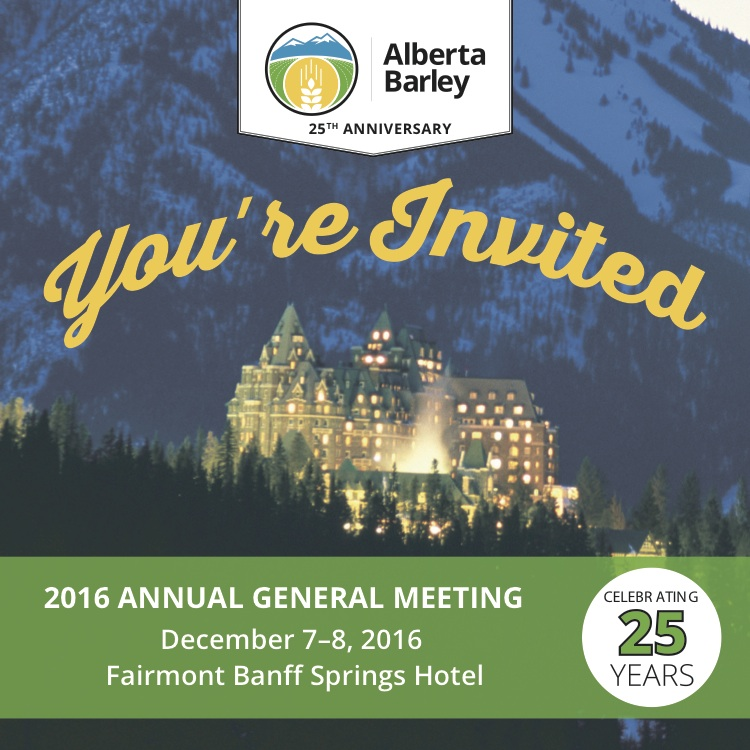 You're invited to the Alberta Barley 25th Annual General Meeting