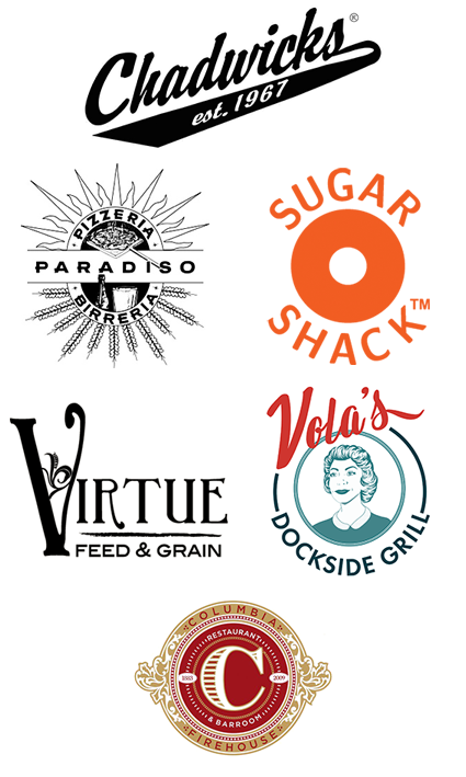 Chadwicks, Pizzeria Paradiso, Sugar Shack, Virtue Feed & Grain, Vola's Dockside Grill, and more to come!