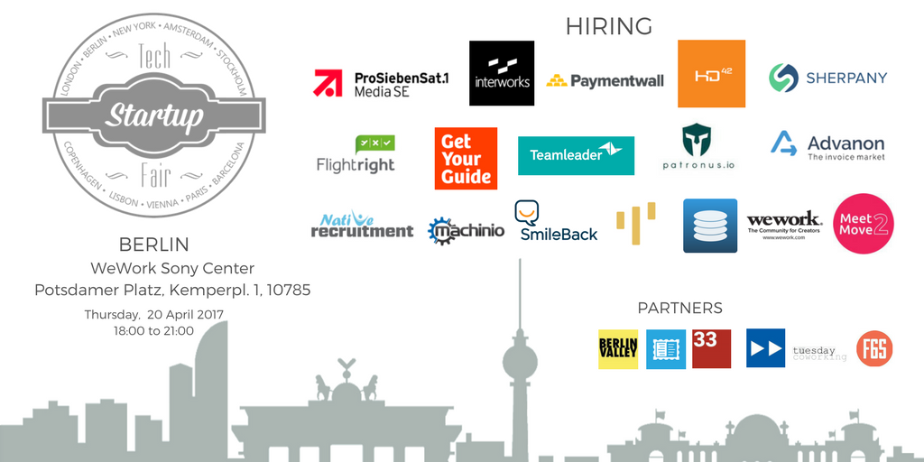 tech startup job fair berlin spring 2017 tickets thu 20. Black Bedroom Furniture Sets. Home Design Ideas