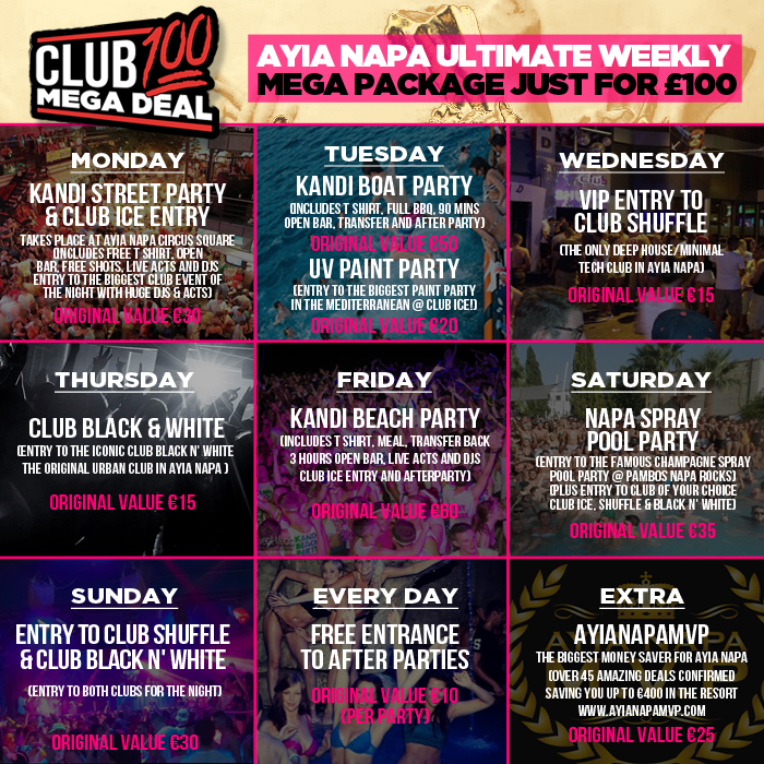 Club100MegaDeal Ayia Napa 2016 Events Package