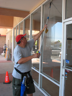 Begining window cleaning