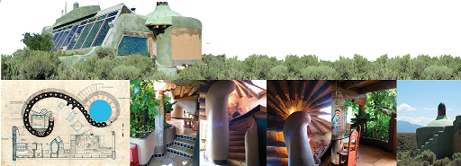 exterior, interior, and schematic of nautilus earthship
