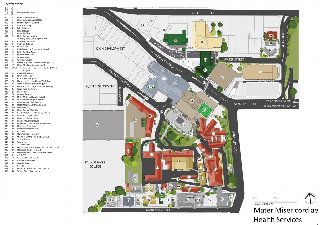 Mater Hospital - site map
