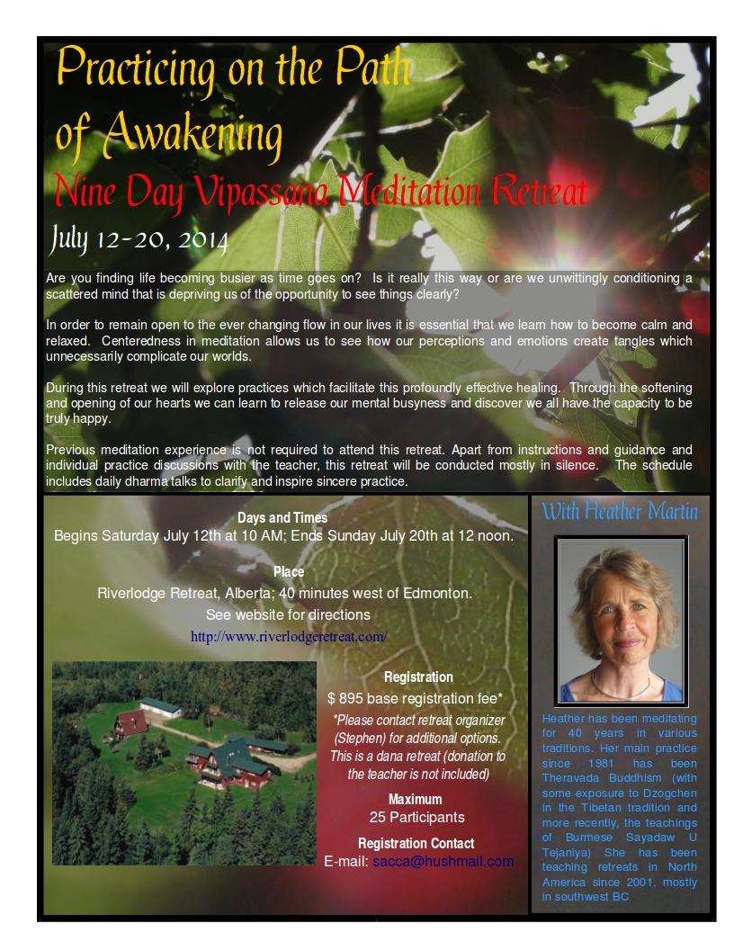 9-Day Vipassana Meditation Retreat with Heather Martin July 12-20, 2014