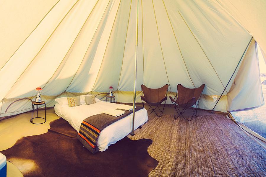 bell tents inside