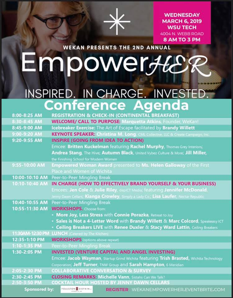 Agenda for the 2nd Annual EmpowerHer Women's Entrepreneurship Conference.