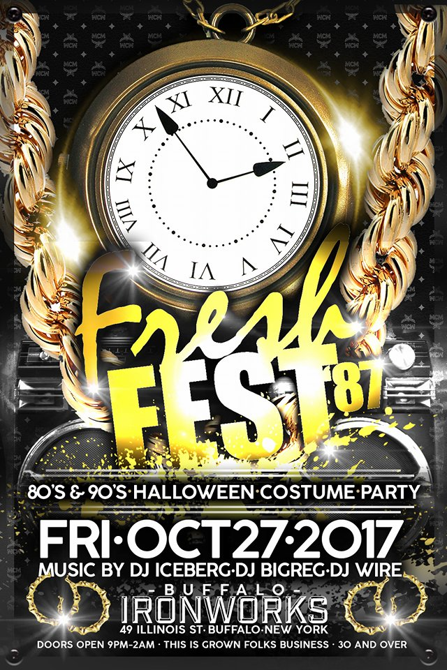 Fresh Fest '87 (2017 Edition)  80's and 90's Fashion Costume Party #HipHopHalloween  Music by DJ IceBerg, DJ BigReg & DJ Wire  This is #GrownFolksBusiness #30andOver  PRIZES and GIVEAWAYS for BEST COSTUMES for Male, Female and/or Crew  Tickets will also be Available at Doris Records!!