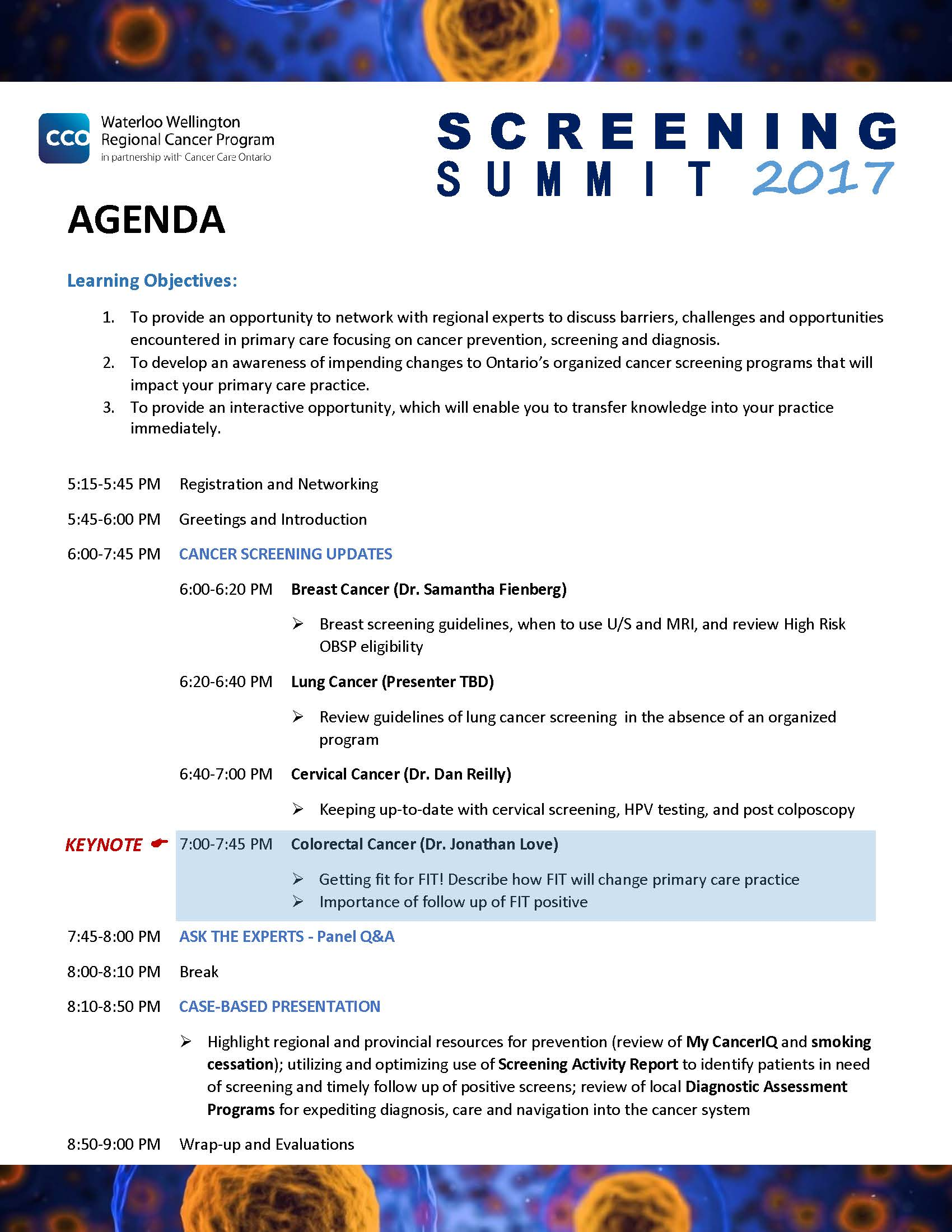 Screening Summit 2017 Agenda