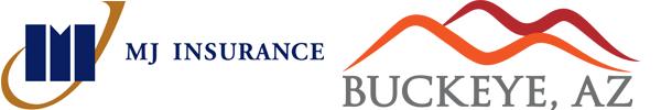 MJ Insurance and City of Buckeye Logos