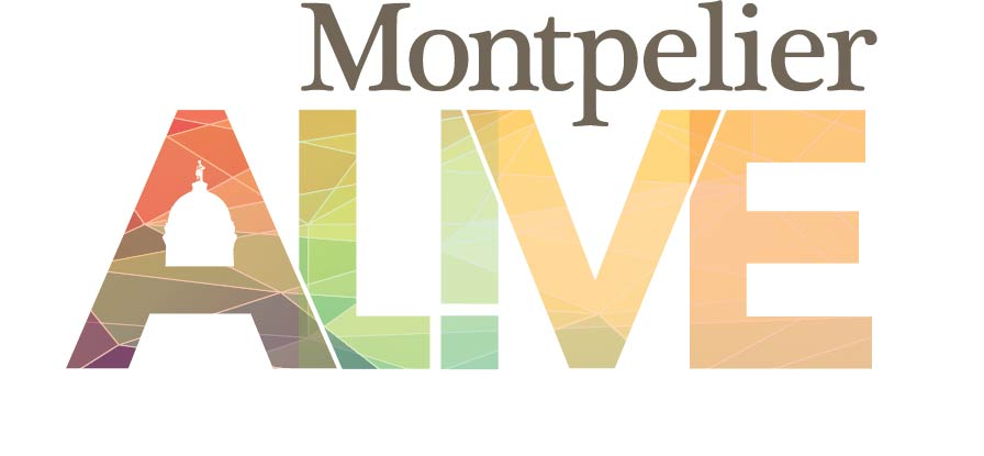 Logo for Montpelier Alive, an organization dedicated to celebrating the city of Montpelier, VT.