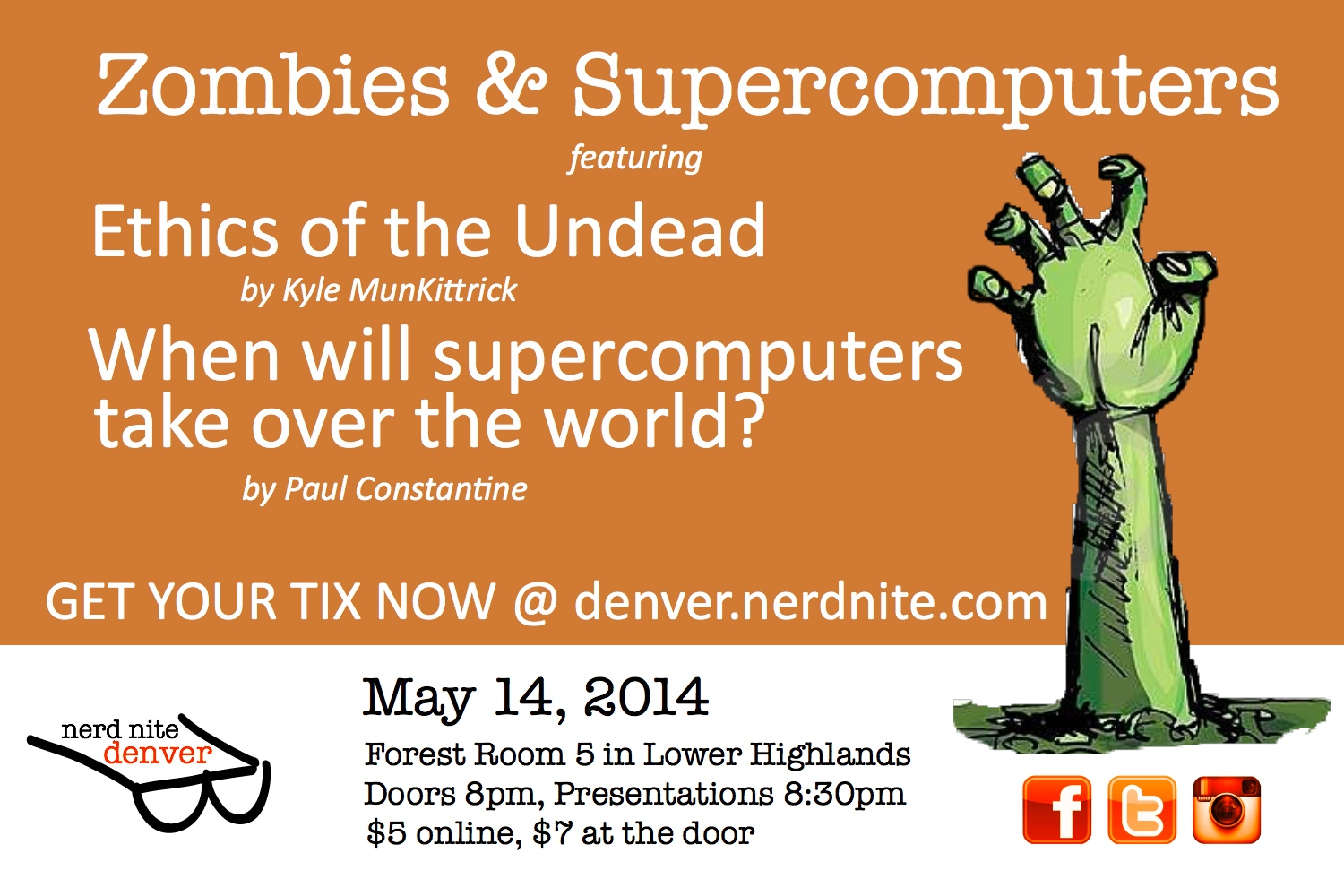 Nerd Nite #1 Poster - Zombies and Supercomputers