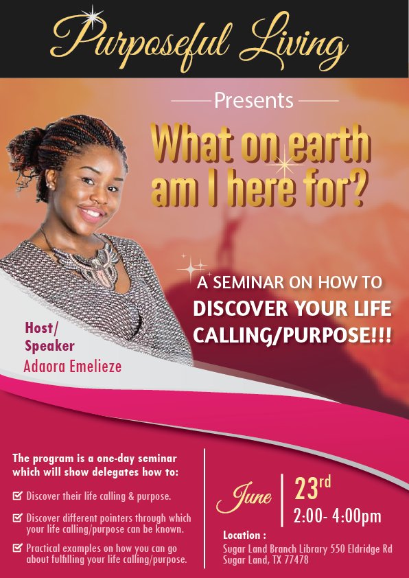 You're invited to a seminar on discovering your life purpose!!!