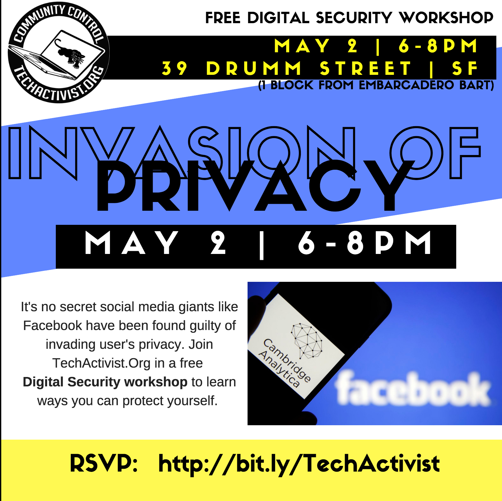 Invasion of Privacy - Digital Security Workshop @ ACLU of Northern California | San Francisco | California | United States