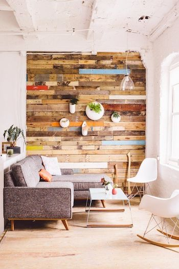 Reclaimed Wood Accent Wall Colorful