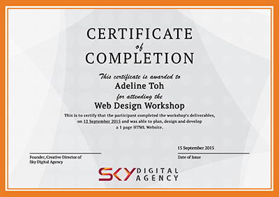 Web Design Workshop Certificate - Sky Digital Agency