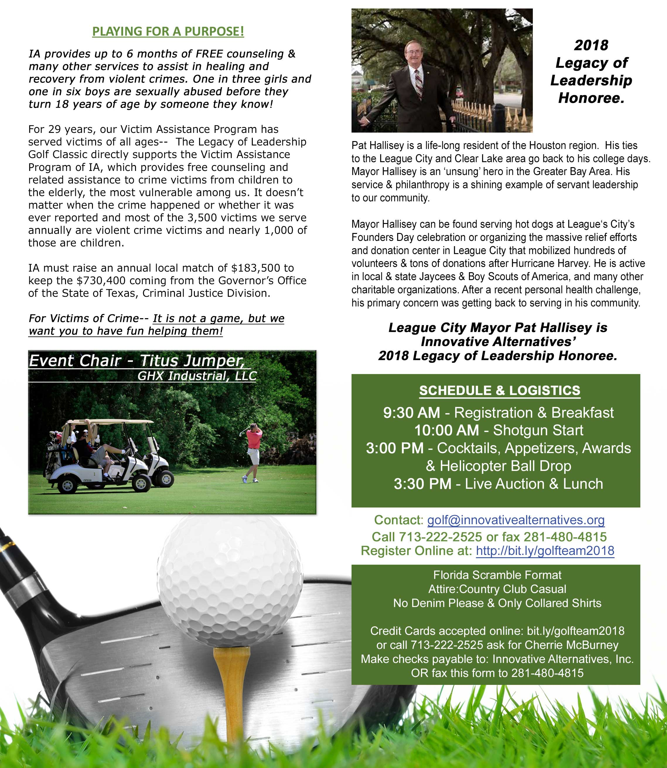 Legacy of Leadership Golf Classic Info