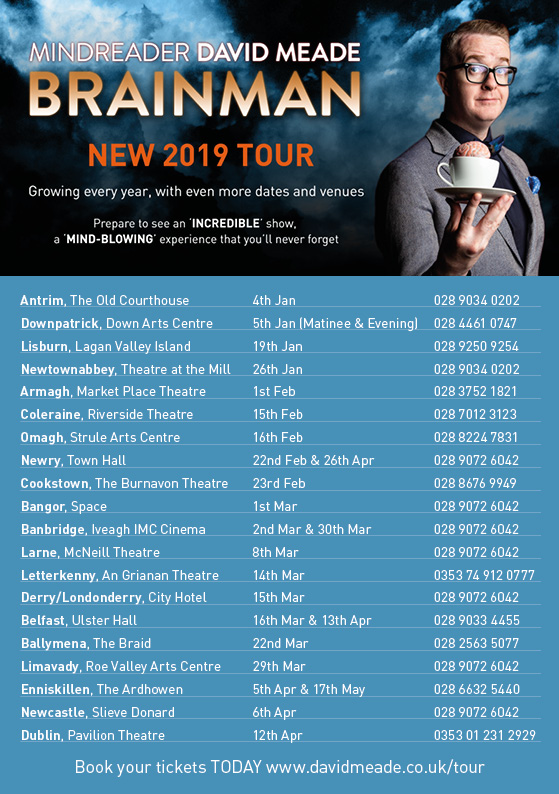 David Meade 2019 Tour locations