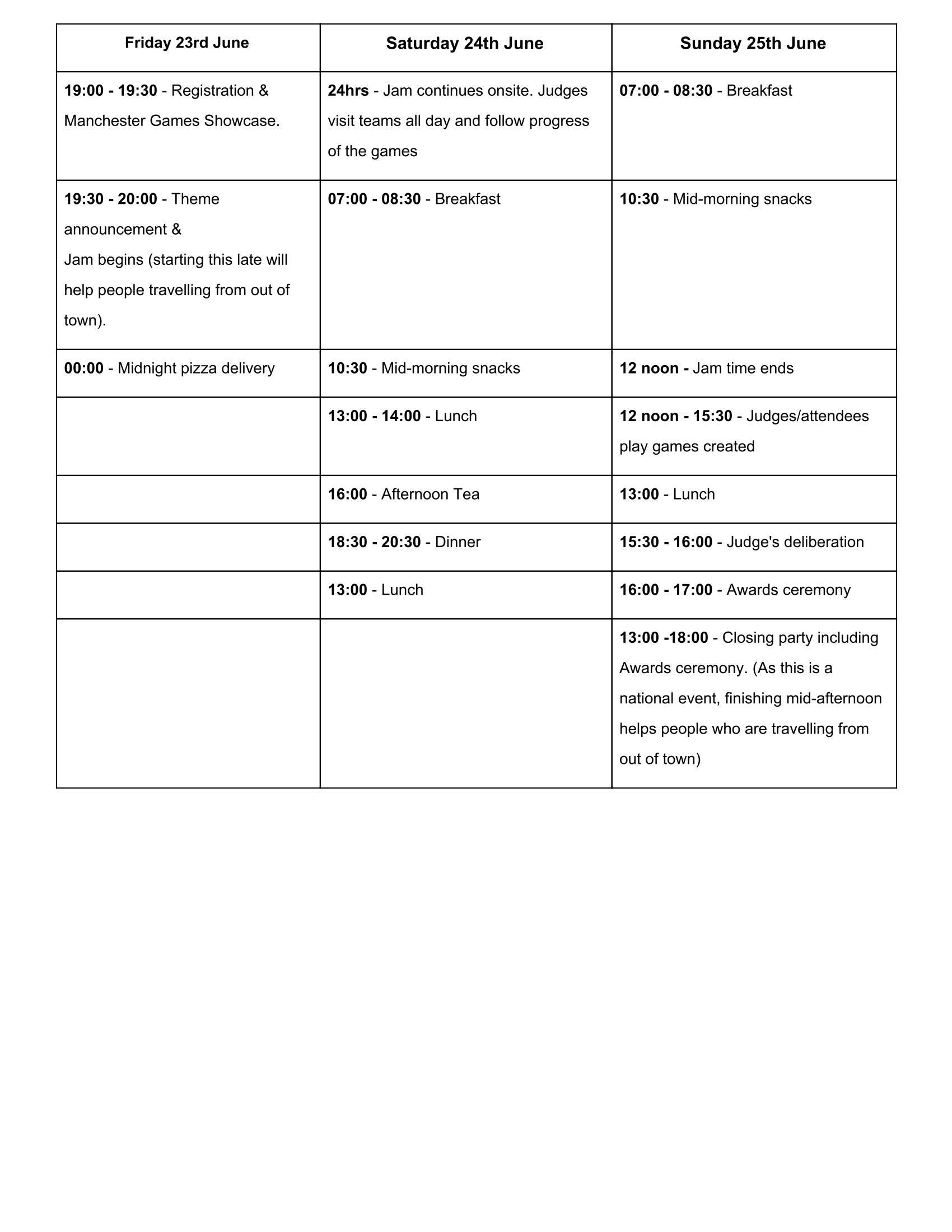 Jamchester Schedule 2017