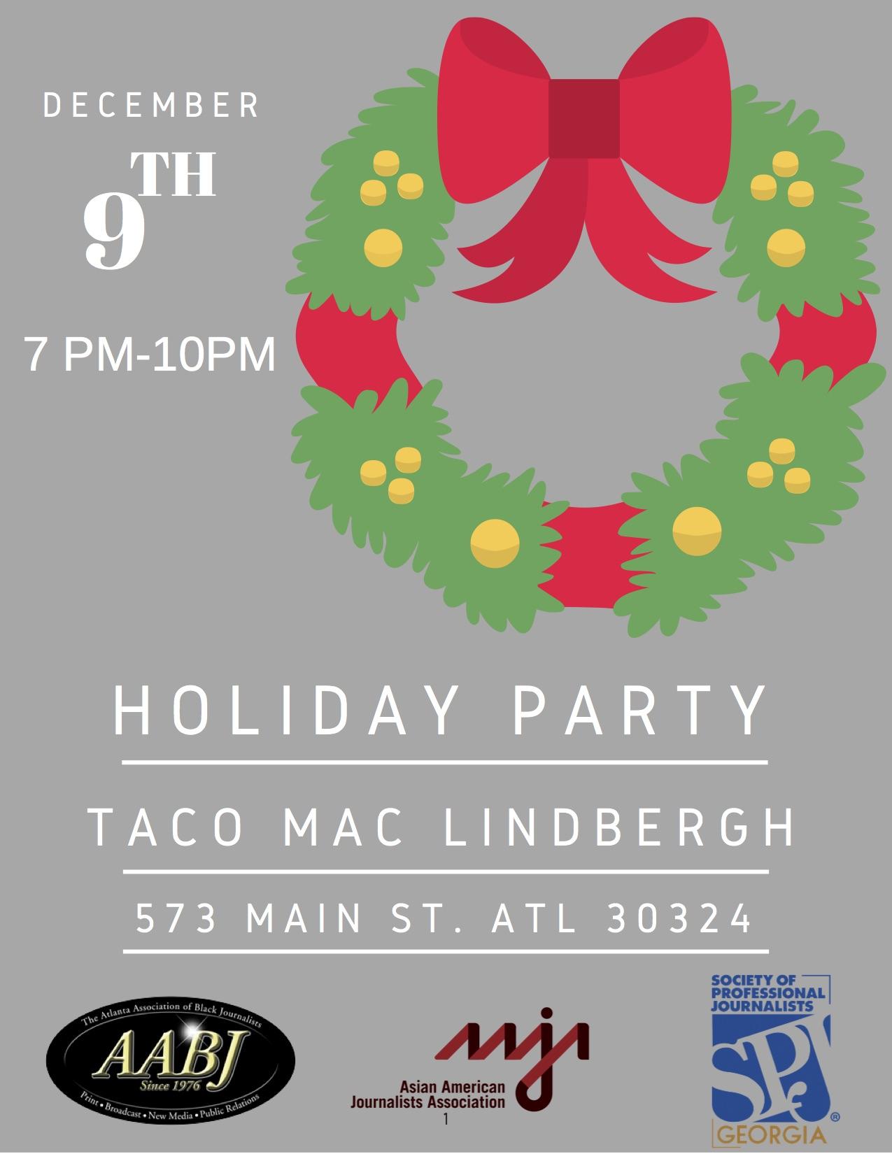 Dec. 9 mixer at Taco Mac Lindbergh flyer