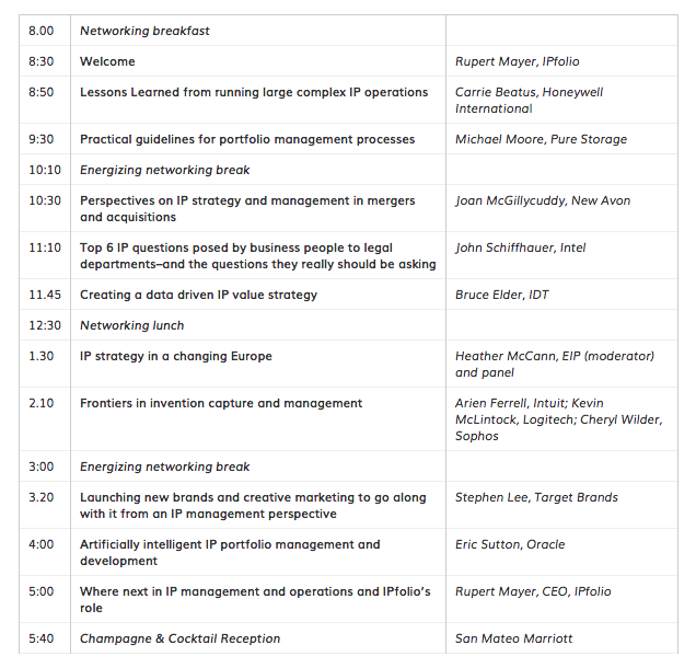 IPforward 2018 Conference Schedule