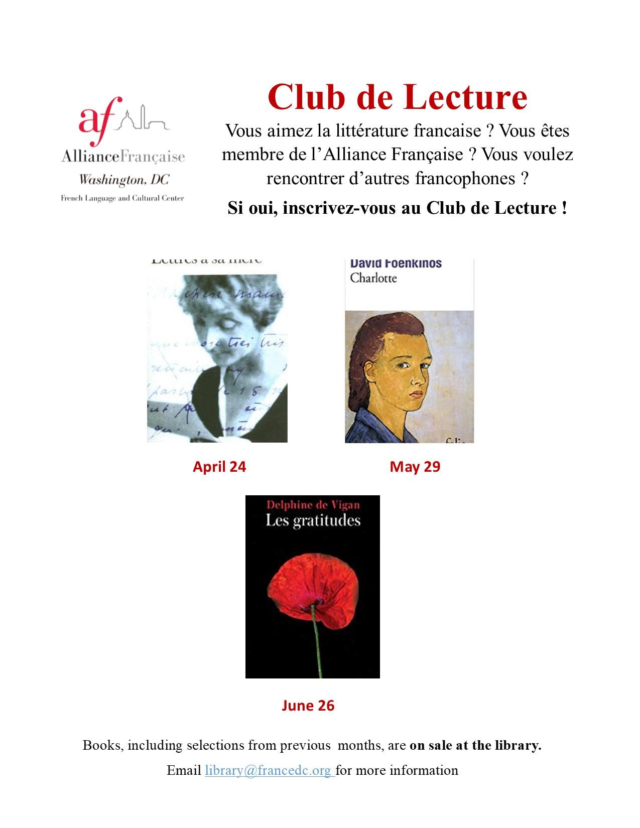 Alliance Francaise Club De Lecture 2019 2020 Tickets