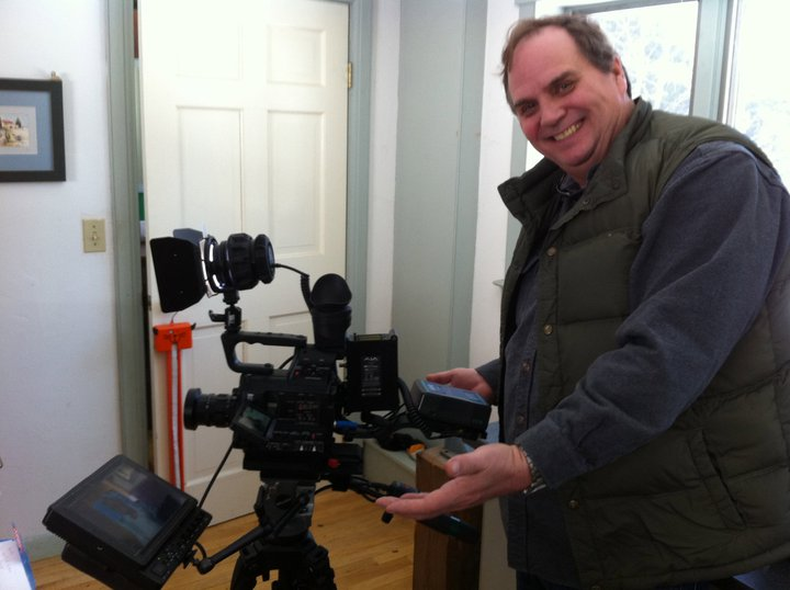 Filmmaker Stuart Cummings with AJA KiPro Min and Panasonic AF100 shoulder rig