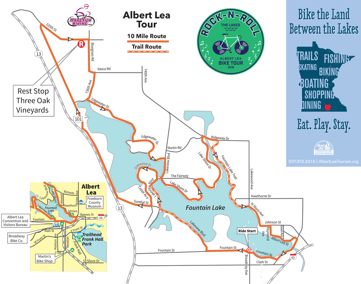 A map of the 10-mile route on the Rock-n-Roll the Lakes bike ride
