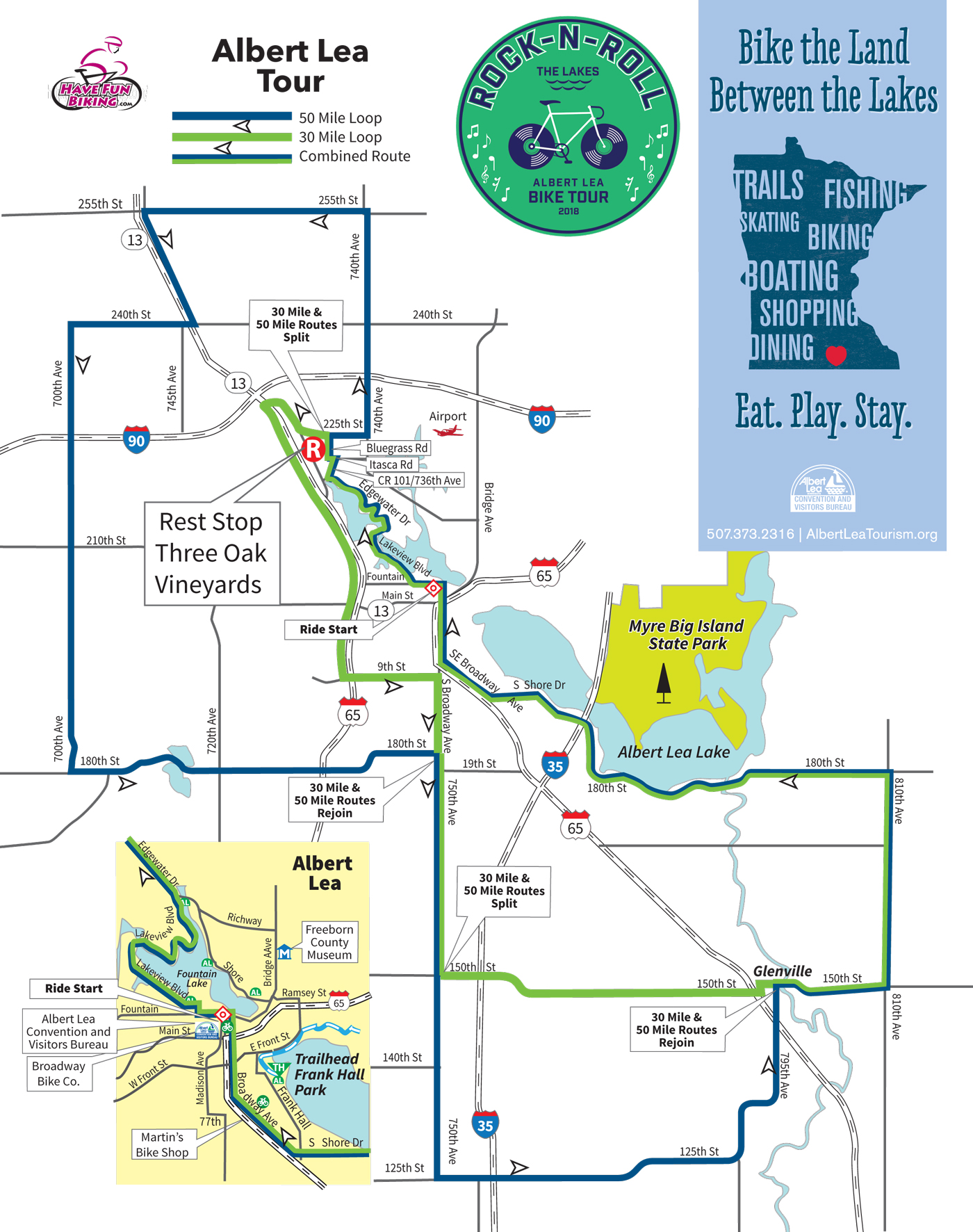 A map of the 30-mile and 50-mile routes for the Rock-n-Roll the Lakes bike ride