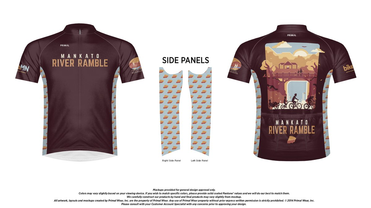 A mockup image of the 2019 Mankato River Ramble jersey.