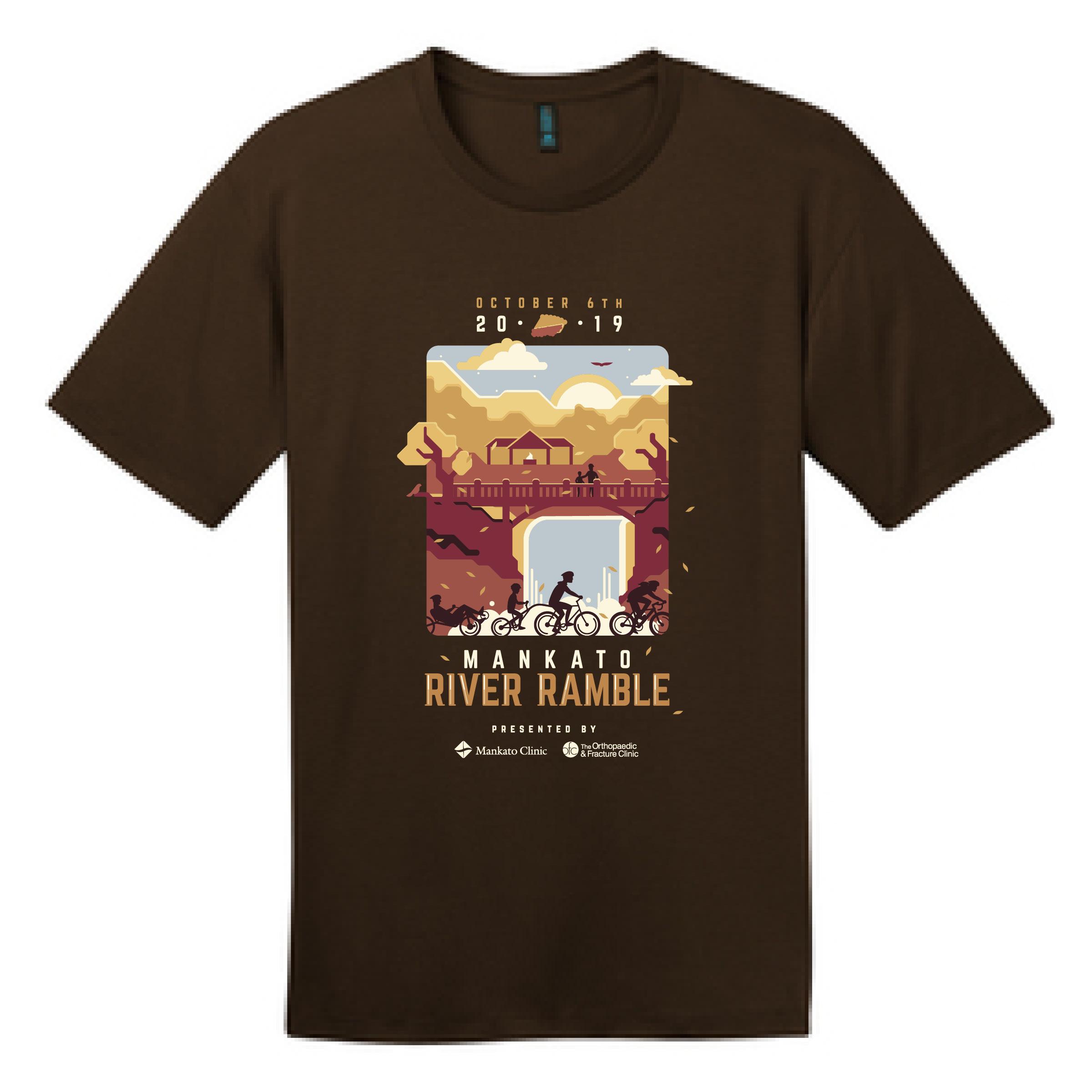 A mockup image of the 2019 Mankato River Ramble t-shirt.