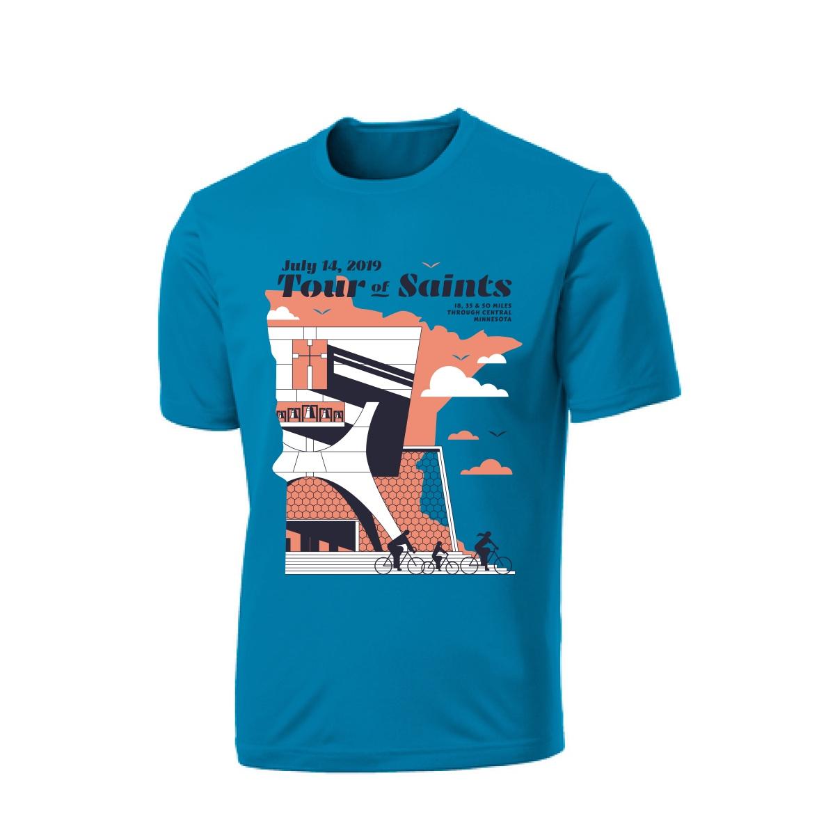 A mockup of the 2019 Tour of Saints signature t-shirt.