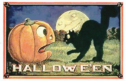 A black cat and a sentient pumpkin scream at each other