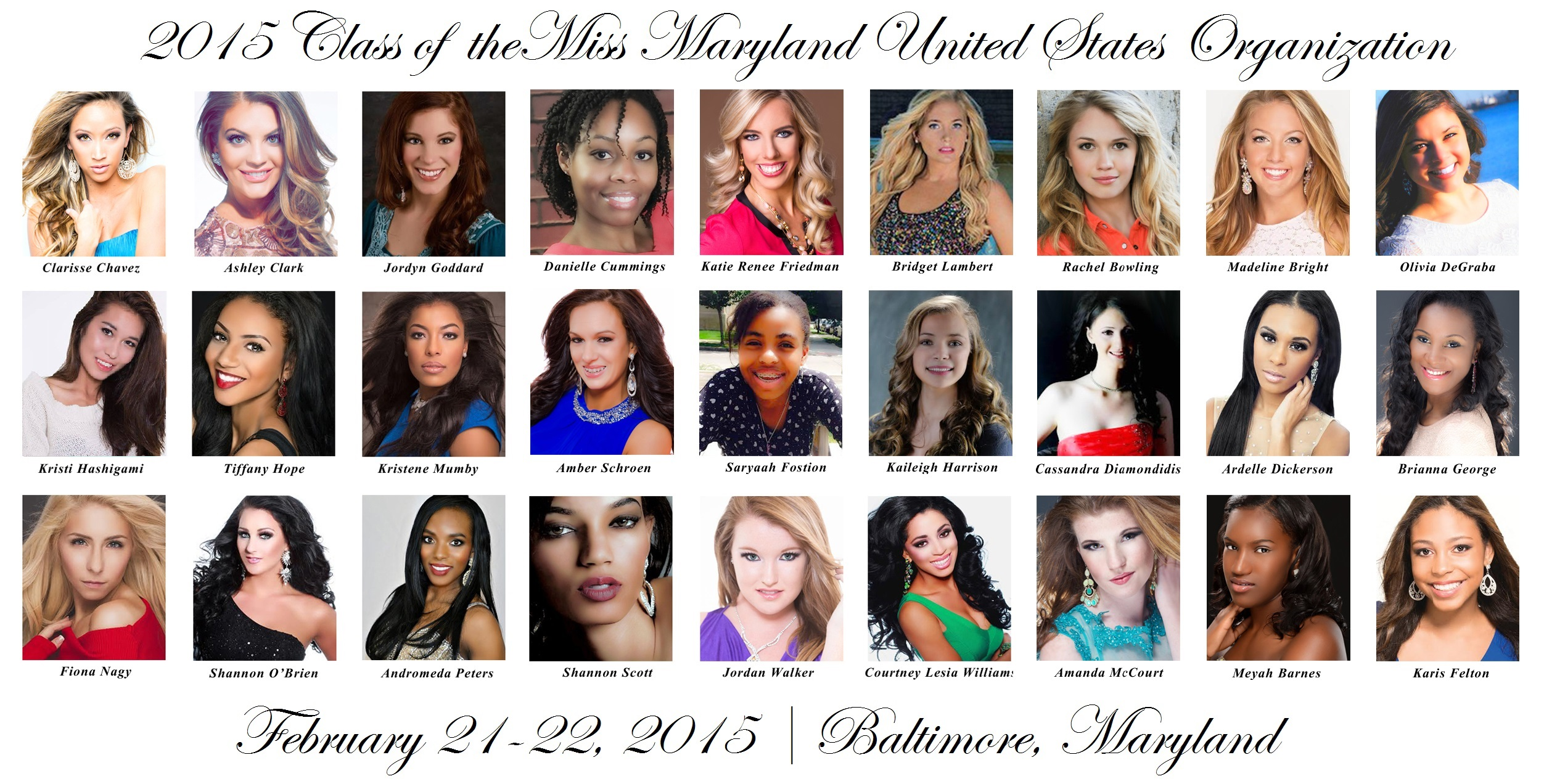 2015 Class of the Miss Maryland United States Organization