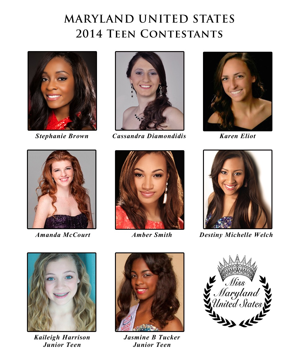 Miss Teen and Junior Teen Maryland United States Contestants 2014
