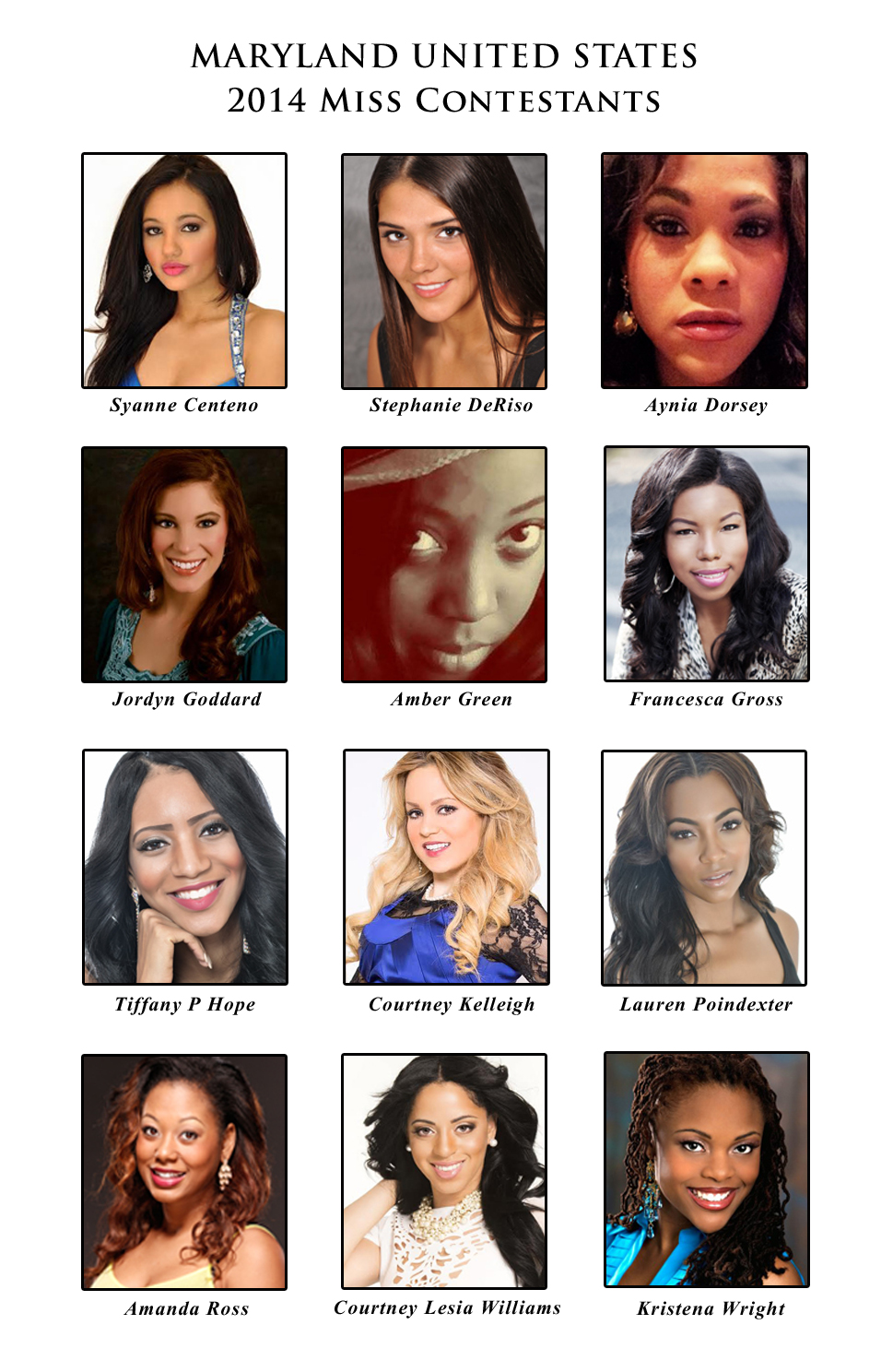 Miss Maryland United States Contestants