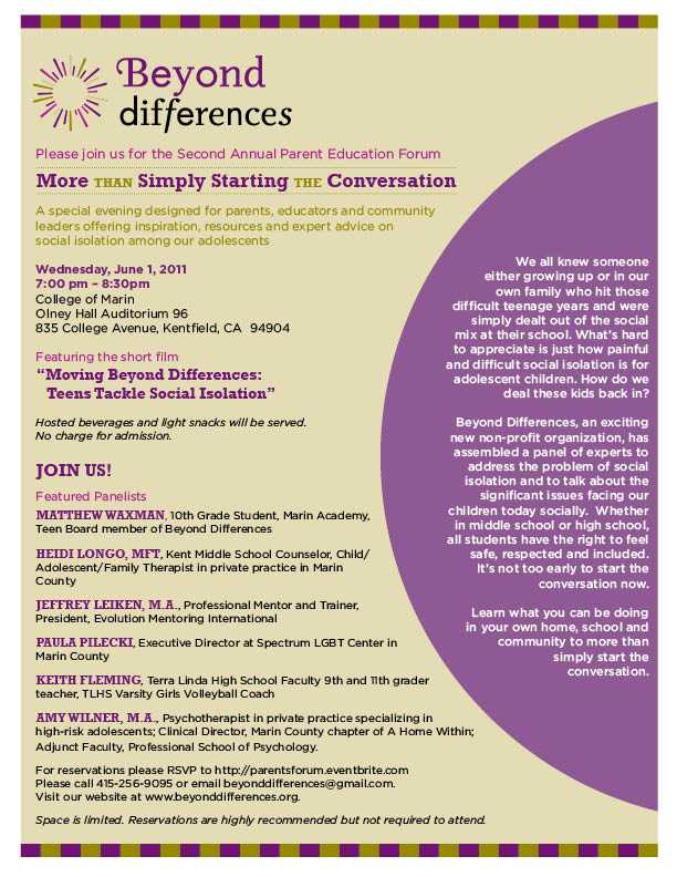 Parents Forum Flyer Page 1