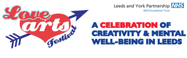 Love arts festival heart logo, a celebration of creativity and mental wellbeing in Leeds