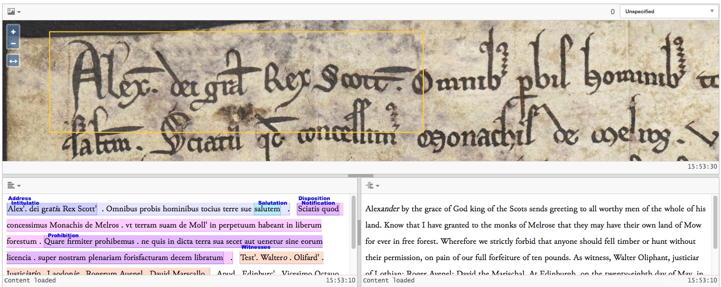 Screenshot of the Text Editor in Models of Authority