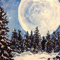 Sip N Paint Party - Snowy Moon and Trees