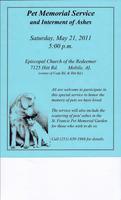 Pet Memorial Service & Interment of Ashes