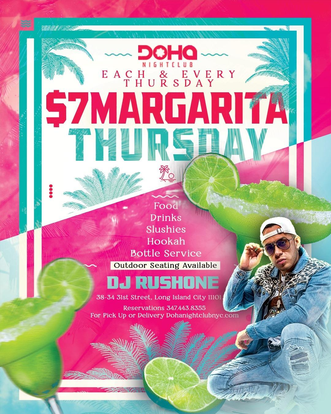 $7 Margarita Thursdays at Doha Nightclub NYC