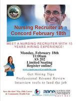 Nursing Recruiter at Concord February 18th.