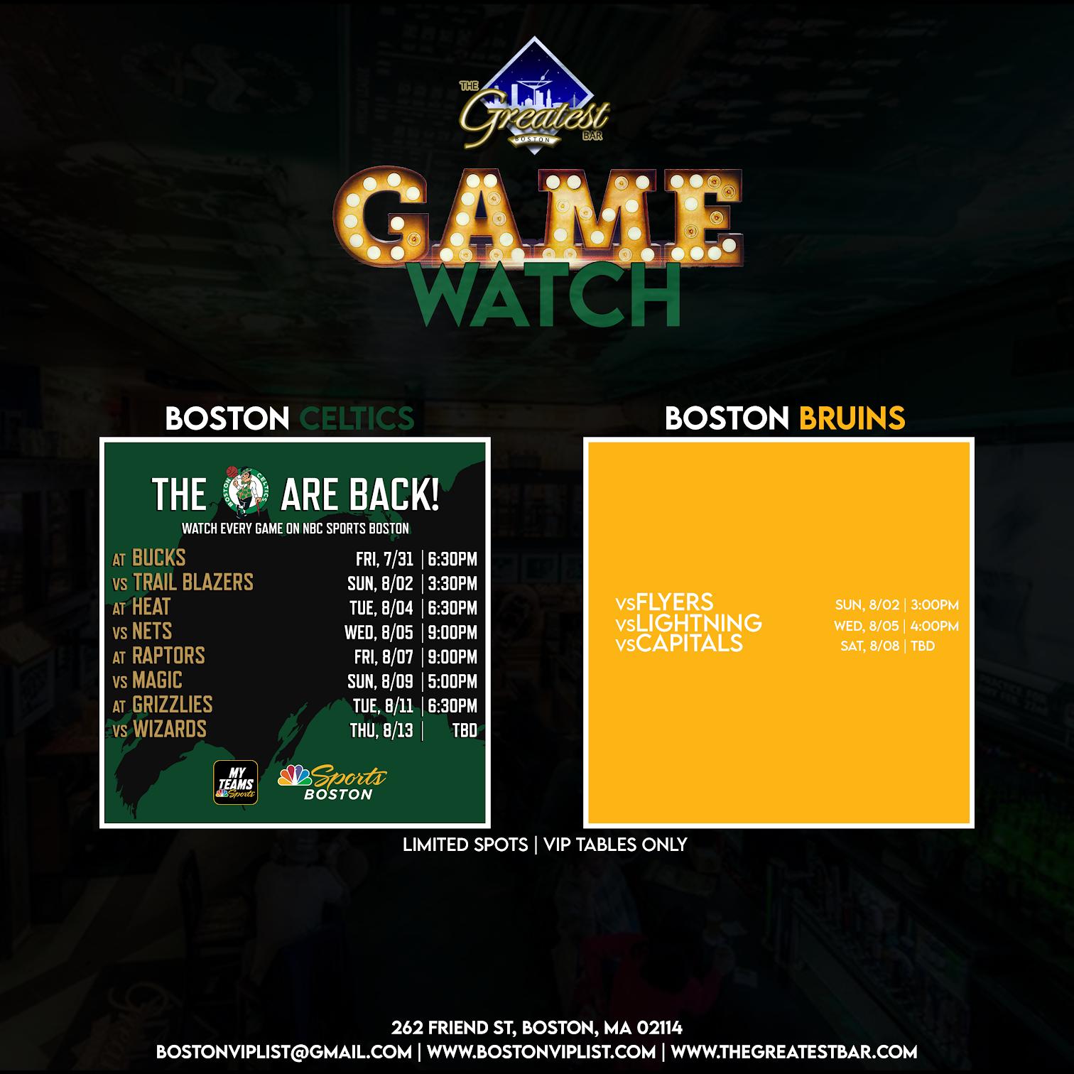 Game Watch for Bruins & Celtics