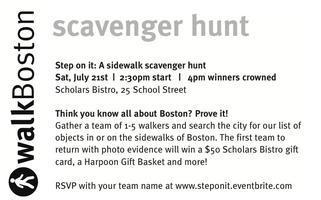 Step On It - Boston's Sidewalk Scavenger Hunt